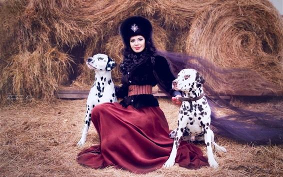 Обои Далматинец, леди и две собаки