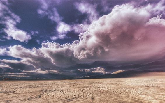 Fond d'écran Désert, nuages, ciel, ombre