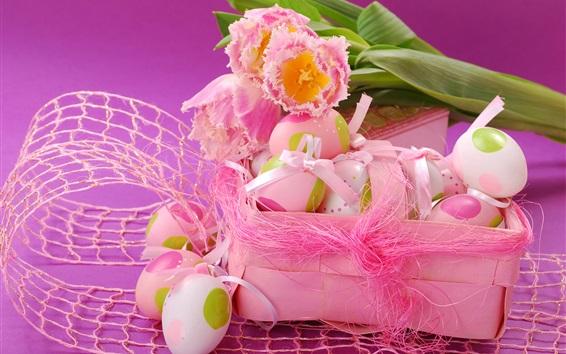 Wallpaper Easter eggs, pink tulips, spring, ribbon