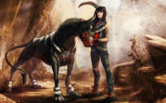 Fond d'écran Fantaisie fille et cheval, tableau d'art