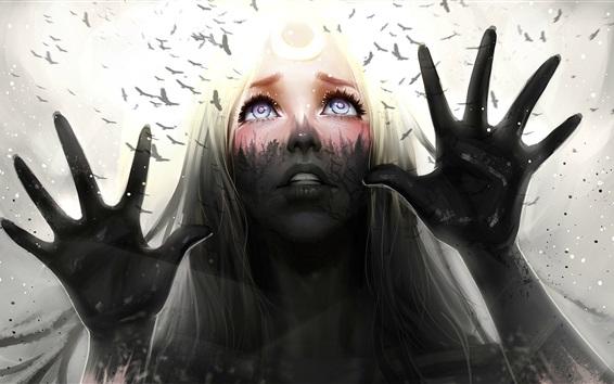 Papéis de Parede Fantasy girl, olhar, mãos, pássaros, arte