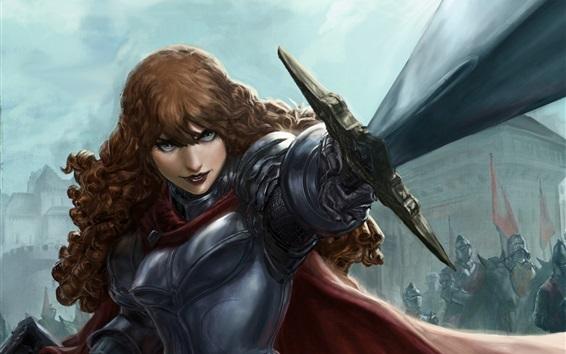 Wallpaper Fantasy girl, warrior, weapons, sword, armor