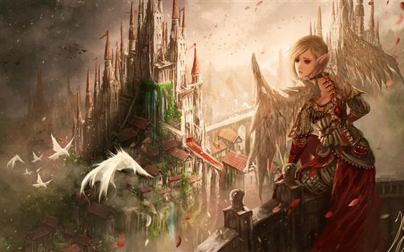 Обои Фантазия девушка, крылья, уши, эльф, птицы, замок, картинка