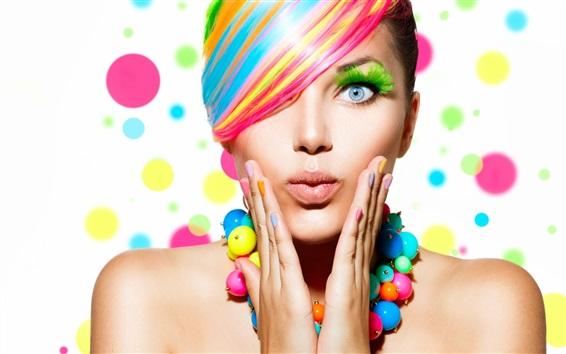 Wallpaper Fashion girl, colorful hair, makeup