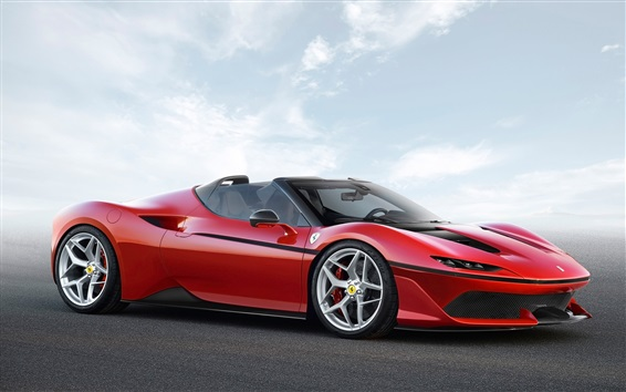 壁紙 フェラーリJ50レッドスーパーカー2017