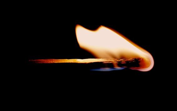 Wallpaper Fire, flame, match, black background