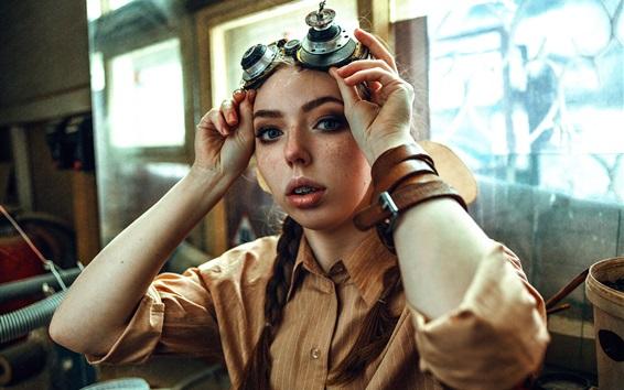 배경 화면 주근깨 소녀, 머리띠, 특수 안경