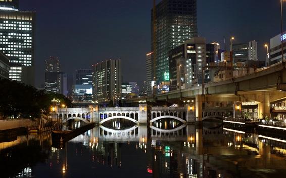 Papéis de Parede Fukuoka, Japão, noite, cidade, arranha-céus, rio, ponte, luzes