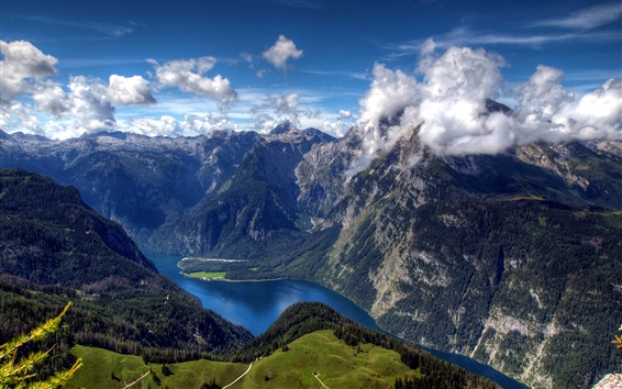 Wallpaper Germany, Bavarian, Bayern, Alps, clouds, river, forest