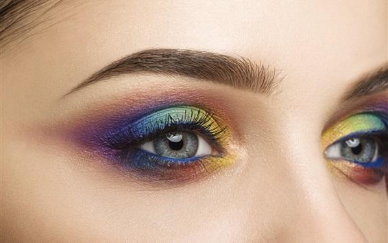 Wallpaper Girl eyes, makeup, colors