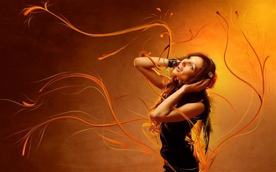 Fond d'écran Fille, écouter, musique, orange, fond
