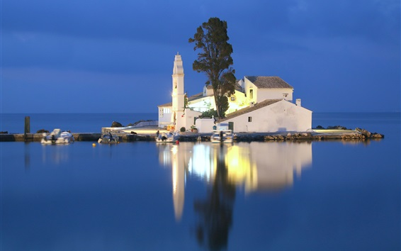 Wallpaper Greece, Ionian sea, church, small island, night, water reflection