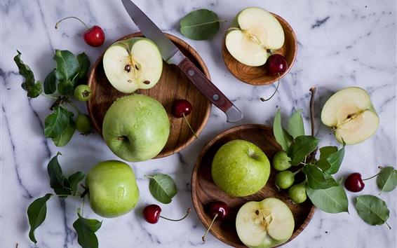 Wallpaper Green apples, cherries, knife, water drops, still life