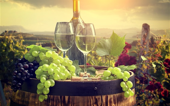 Wallpaper Green grapes, wine, bottle, glass cups