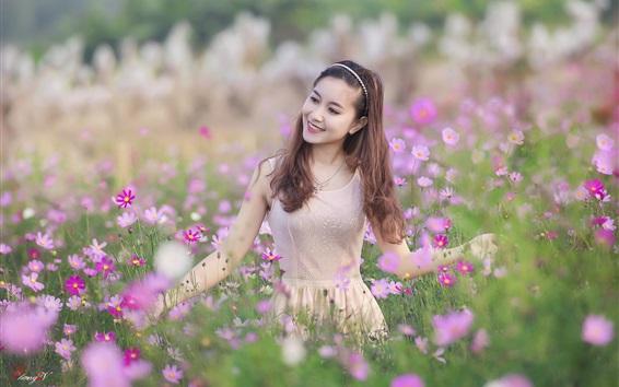 배경 화면 행복한 아시아 소녀, 야생화