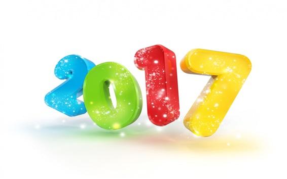 Fond d'écran Bonne année 2017, numéros colorés