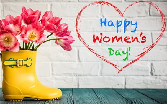Wallpaper Happy Women's Day, shoes, pink tulips
