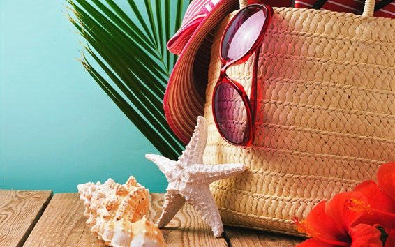 Wallpaper Hat, glasses, seashells, starfish, basket, summer