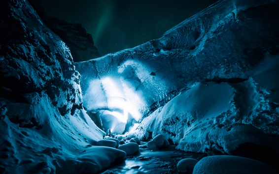 Wallpaper Ice cave, light