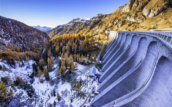 Wallpaper Italy, Canazei, snow, mountains, trees, dam, winter