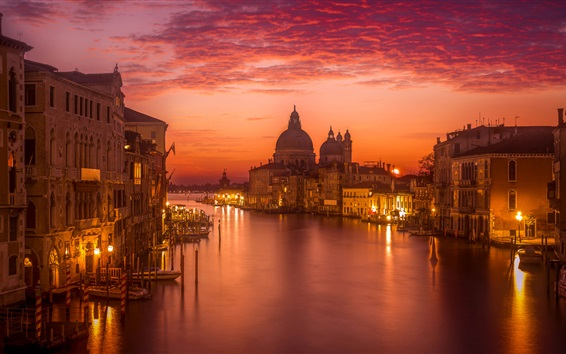 Papéis de Parede Itália, Veneza, bonito, noturna, Nuvens, vermelho, céu, Rio, casas, luzes