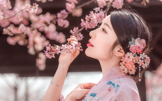 Wallpaper Japanese girl, sakura, pink flowers, spring