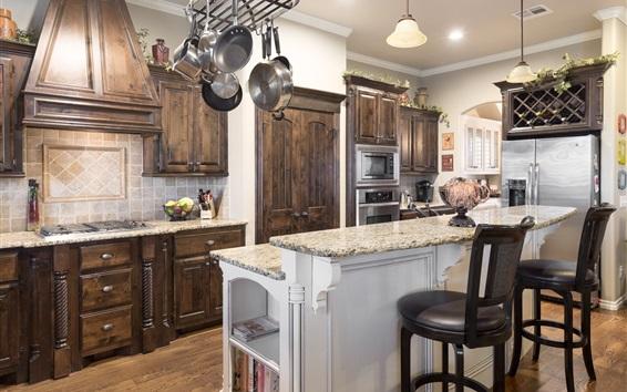 Wallpaper Kitchen room, furniture, chairs, dishes, interior design