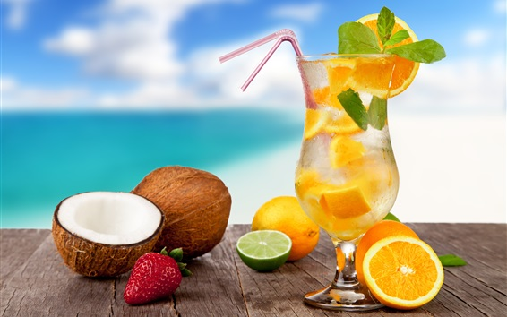 壁紙 レモンドリンク、カクテル、夏、熱帯