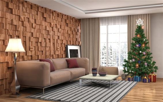 Обои Гостиная, Рождественская елка, подарки, диван