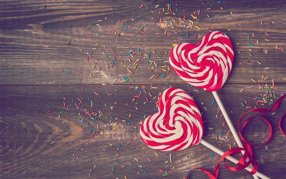 Wallpaper Love heart lollipop, candy