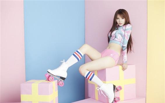 Wallpaper Lovely Asian girl, legs, skates