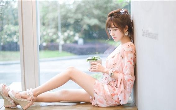 Fond d'écran Belle, Asiatique, girl, asseoir, fenêtre, côté, jambes