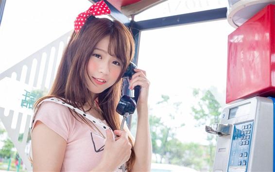 Wallpaper Lovely Asian girl use telephone