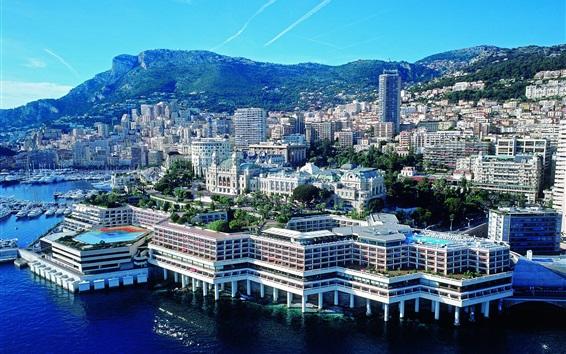 Papéis de Parede Monaco, mar Mediterrâneo, cidade, cais, montanhas, barcos