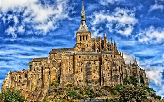 Wallpaper Mont-Saint-Michel, France, Normandy, castle, tower, clouds
