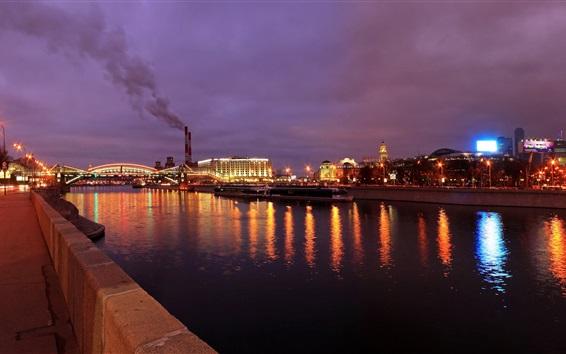 Wallpaper Moscow, city night, lights, river, bridge, boats