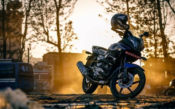 Wallpaper Motorcycle at street, helmet, sunshine