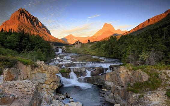 Обои Горы, скалы, река, ручей, лес, закат