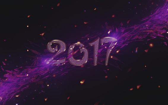 Обои Новый год 2017, фиолетовый стиль