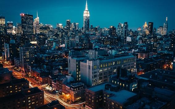 壁紙 ニューヨーク市の夜、高層ビル、ライト、道路