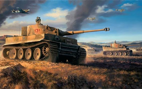 青空と戦車の壁紙