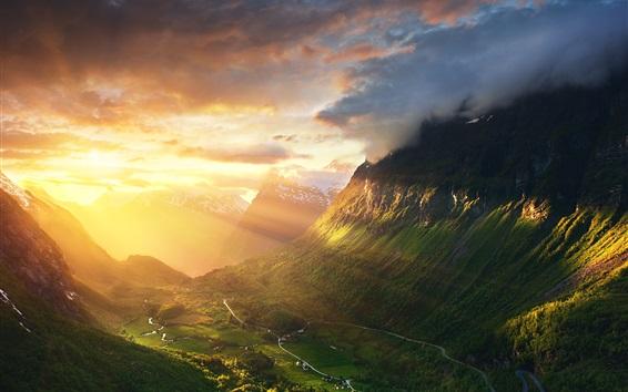 Wallpaper Norway, Alesund, mountains, valley, sunshine, sunrise, morning