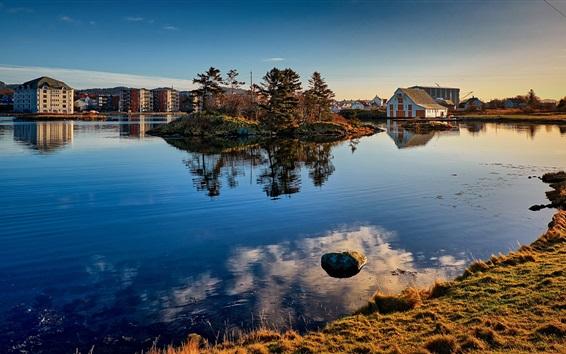 壁紙 ノルウェー、ハウゲスン、木々、湖、住宅