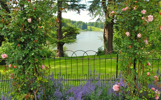 Wallpaper Oxfordshire Gardens, UK, trees, bushes, roses, grass, fence, river
