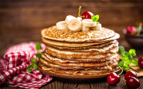 Wallpaper Pancakes, banana, cherries, food