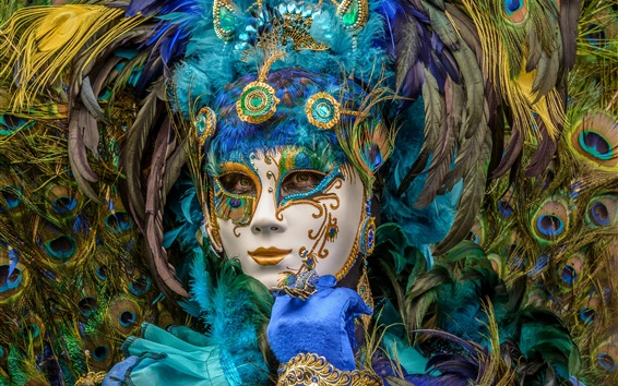 Wallpaper Peacock feathers mask girl, carnival