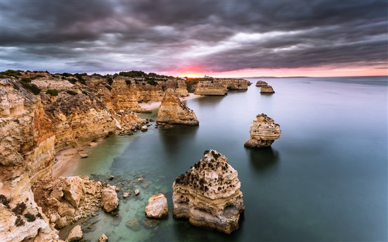 Обои Португалия, Алгарве, море, океан, скалы, восход, облака, рассвет