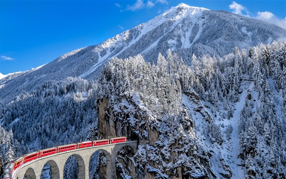 Wallpaper Railroad, train, viaduct, mountains, winter, snow, Alps, Switzerland