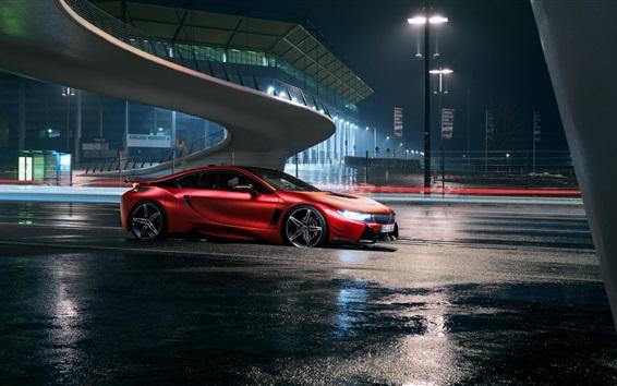 Wallpaper Red BMW car at night city road