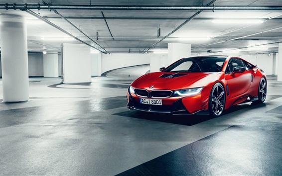 Fondos de pantalla Rojo BMW coche en el estacionamiento